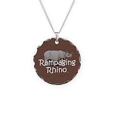 Rampaging Rhino Necklace Circle Charm