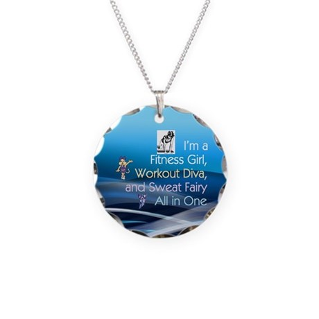 TOP Workout Diva Necklace Circle Charm