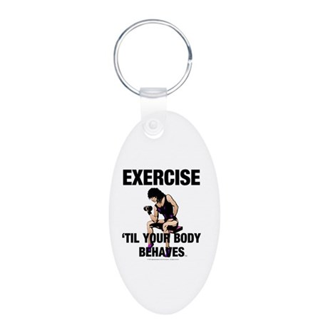 TOP Exercise Slogan Aluminum Oval Keychain