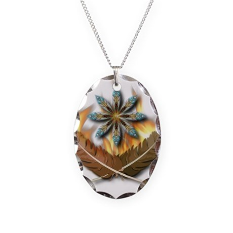 Native Feathers Necklace Oval Charm