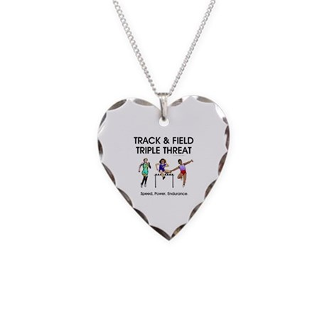 Women's Track and Field Slogan Necklace Heart Char