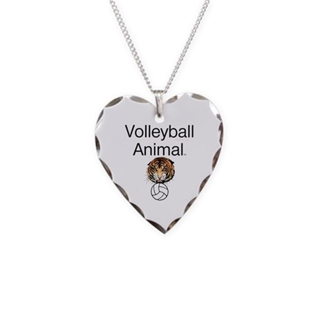 Volleyball Animal Necklace Heart Charm