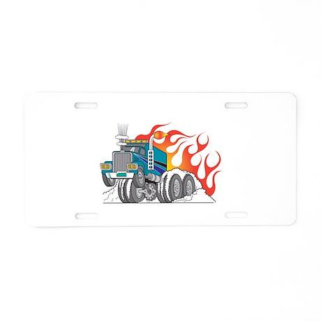 Hot Rod (Flames) 18 Wheeler T Aluminum License Pla