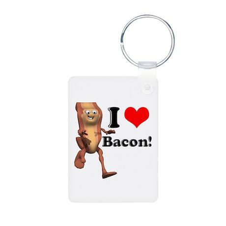 I Heart (Love) Bacon Aluminum Photo Keychain