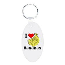 I Heart (love) Bananas Keychains