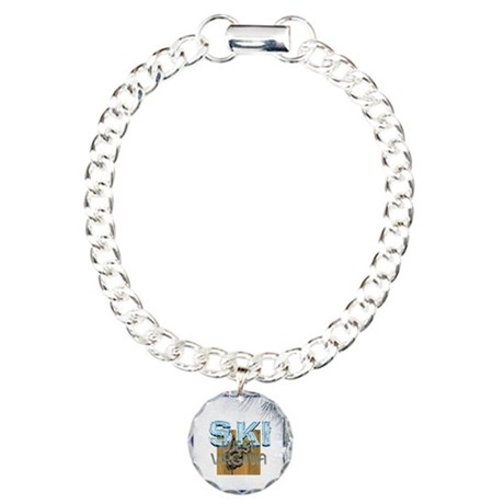 West Virginia Skier Charm Bracelet, One Charm