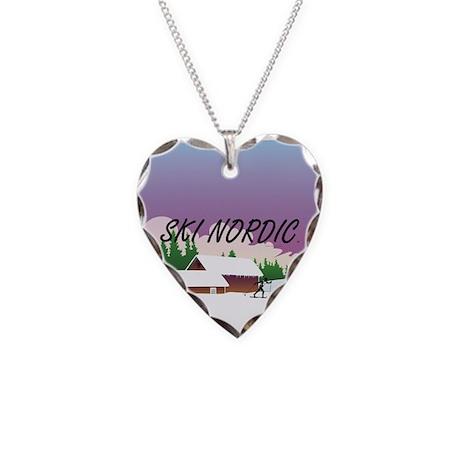 Ski Nordic Necklace Heart Charm