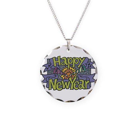 Happy New Year Cheer Design Necklace Circle Charm