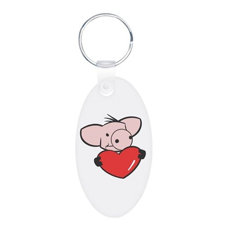 Pig Valentine/Heart Aluminum Oval Keychain