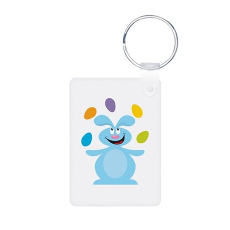 Cute Juggling Easter Bunny Aluminum Photo Keychain
