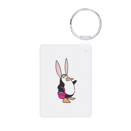 Easter Bunny Penguin Aluminum Photo Keychain