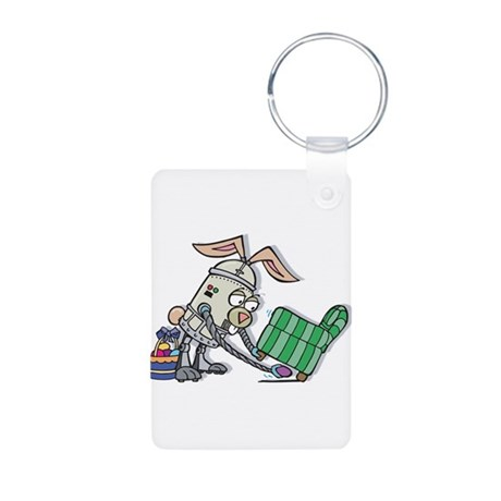 Robot Easter Bunny Aluminum Photo Keychain