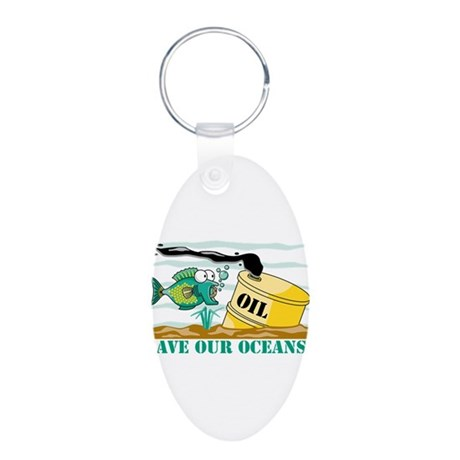 Save Our Oceans Aluminum Oval Keychain