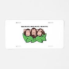 No Evil Monkeys Aluminum License Plate