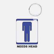 Needs Head Aluminum Photo Keychain