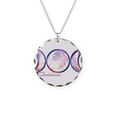 Triple Moon Goddess Necklace Circle Charm