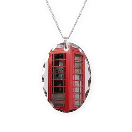 London Phonebooth Necklace Oval Charm