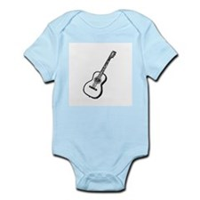 Black Woodcut Guitar Infant Creeper