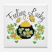 Feeling Lucky Pot of Gold Tile Coaster