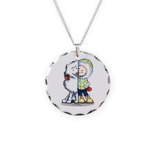 Eskimo Kisses Necklace Circle Charm