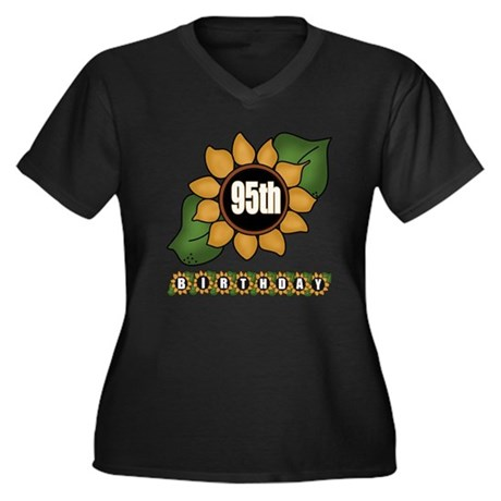 95th Birthday Women's Plus Size V-Neck Dark T-Shir