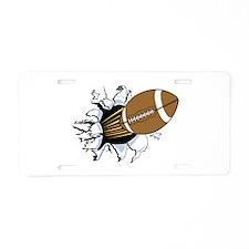Football Breakthrough Aluminum License Plate