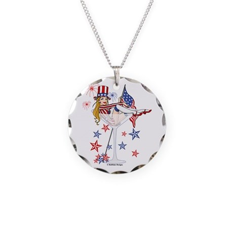 4th of July Martini Girl Necklace Circle Charm