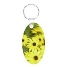 Abstract Yellow Flowers Keychains