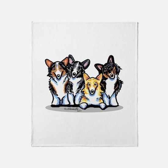Four Corgis Throw Blanket