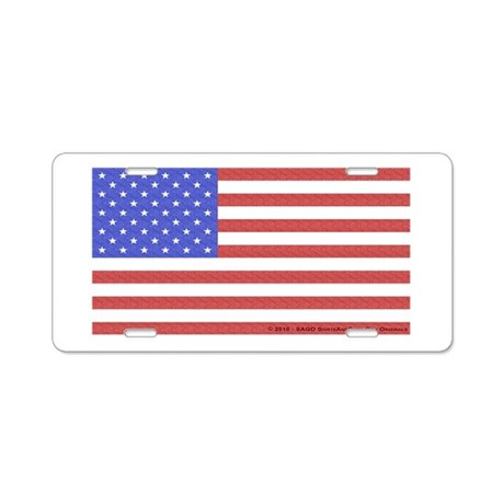 All American Flag Aluminum License Plate