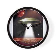 UFO over city Wall Clock