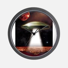 UFO over city Wall Clock