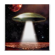 UFO over city Tile Coaster