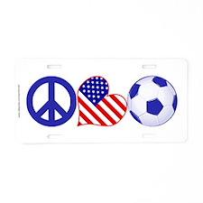 Peace Love Soccer Aluminum License Plate