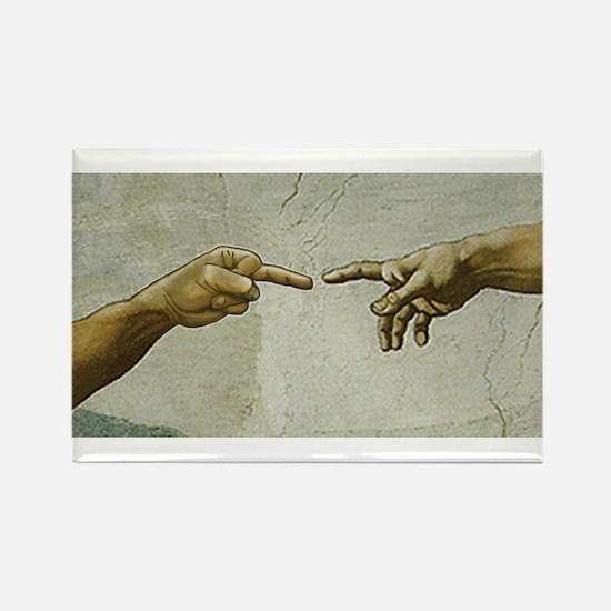 Man-Flips-Off-God Rectangle Magnet (10 pack)