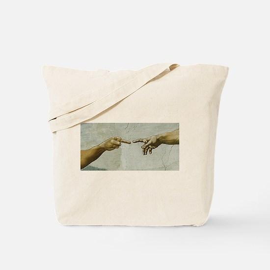 Man-Flips-Off-God Tote Bag
