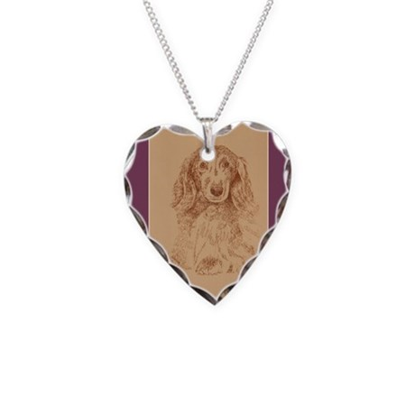 Longhaired Dachshund Necklace Heart Charm