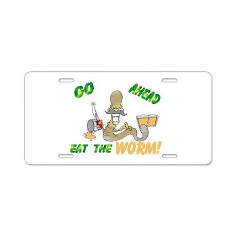 EAT THE WORM Aluminum License Plate