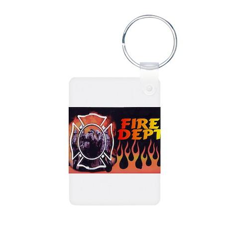FIRE DEPT FLAMES Aluminum Photo Keychain