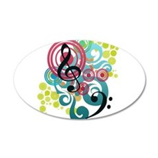 Music Swirl 22x14 Oval Wall Peel