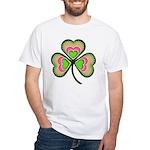 Psychedelic Shamrock White T-Shirt