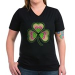 Psychedelic Shamrock Women's V-Neck Dark T-Shirt