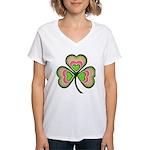 Psychedelic Shamrock Women's V-Neck T-Shirt