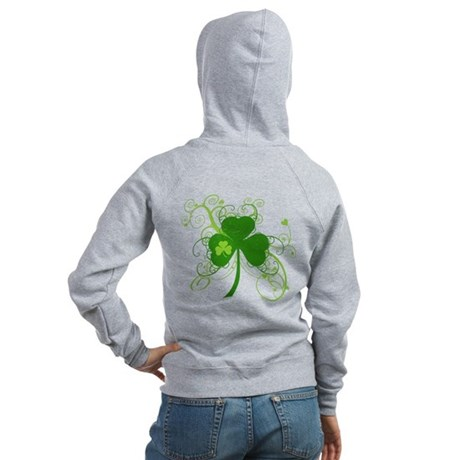 Cool St Patricks Day Shamrock Women's Zip Hoodie