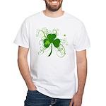 St Paddys Day Fancy Shamrock White T-Shirt
