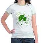 St Paddys Day Fancy Shamrock Jr. Ringer T-Shirt