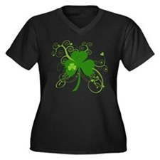 Cool St Patricks Day Shamrock Women's Plus Size V-