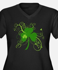 St Paddys Da Women's Plus Size V-Neck Dark T-Shirt