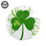 "St Paddys Day Fancy Shamrock 3.5"" Button (10 pack)"