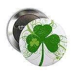 """St Paddys Day Fancy Shamrock 2.25"""" Button"""